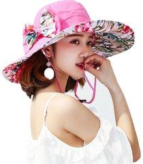 cappellino da spiaggia lungo da viaggio in cotone stampato in raso con cappuccio da donna