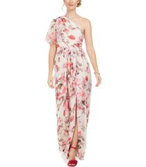 adrianna papell one-shoulder floral-print chiffon gown