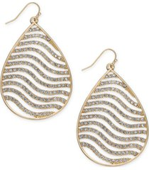thalia sodi gold-tone crystal tiger stripe teardrop drop earrings, created for macy's