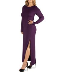 24seven comfort apparel form fitting long sleeve side slit plus size maxi dress