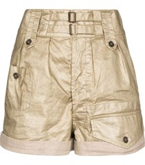 saint laurent coated linen shorts - neutrals