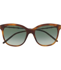 gucci eyewear bamboo-effect soft-square sunglasses - brown