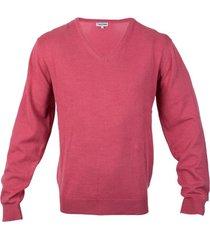 sweater clásico manga larga cuello v rosado oscuro kotting