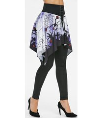 lace up ghost spider web halloween skirted leggings