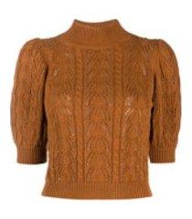 alice+olivia blusa mangas bufantes de tricô - marrom
