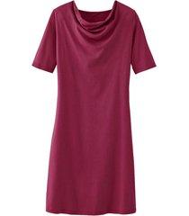 jurk met vrouwelijke watervalhals van bio-katoenen jersey, bessen 46