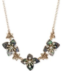 "lonna & lilly gold-tone blue-green flower frontal necklace, 16"" + 3"" extender"