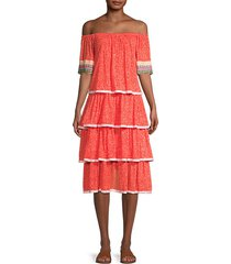 off-the-shoulder boho midi dress