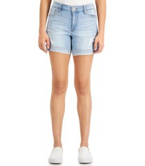celebrity pink juniors' frayed-hem midi jean shorts