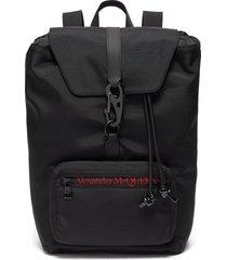 'urban' logo embroidered nylon backpack