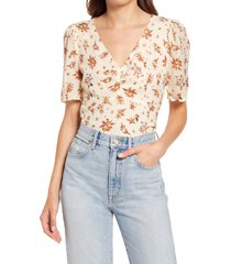 women's madewell silk ruched front puff sleeve top, size 16 - ivory