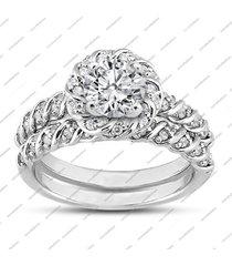 1/2ct twist diamond engagement wedding bridal ring set 14k white gold, women's
