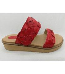 sandalias cuero trenzado tr2 rojo