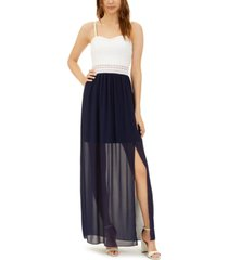 bcx juniors' lace-top chiffon maxi dress