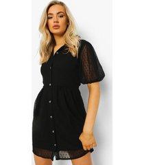 dobby mesh blouse jurk met knopen, black