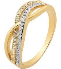 anel transpassado cravejado com cristais zircônias e cristais negros com detalhe em ródio branco e negro banhado a ouro 18k
