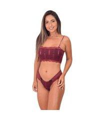 conjunto lingerie top faixa sem bojo - cjsrd010-rubro-g bordô
