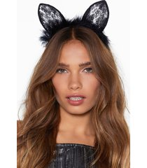 womens are you fur real cat headband - black