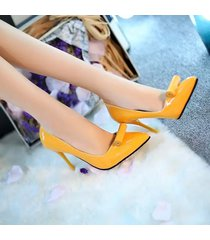 pp341 elegant pointy pumps in candy color with rolling top,us size 5.5-8, yellow