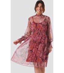 trendyol high neck printed mesh midi dress - red