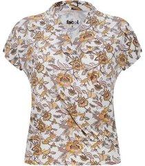 camiseta cruzada flores amarillas color blanco, talla 12