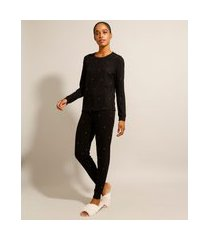 pijama manga longa estampado de poá preto