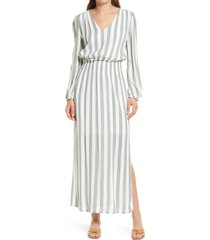 fraiche by j smocked waist long sleeve maxi dress, size medium in forest at nordstrom