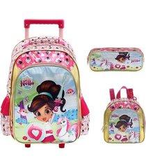 kit mochila com rodinhas nella uma princesa corajosa lancheira e estojo feminina