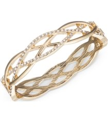 anne klein gold-tone braided-style pave bangle bracelet, created for macy's