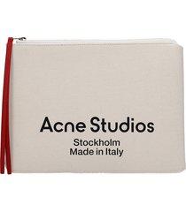 acne studios clutch in beige cotton