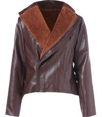 faux fur panel pu leather jacket