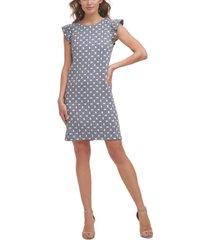 jessica howard flutter-sleeve jacquard shift dress