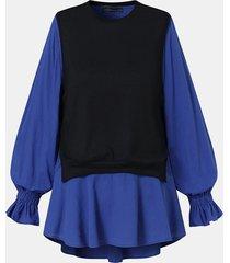 camicetta casual a maniche lunghe patchwork di colore a contrasto per donna