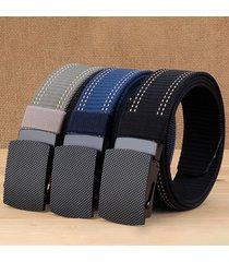 mens long weave canvas web elasticity cintura outdoor slider buckle durable regolabile piatto cintura