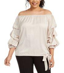 msk plus size puff-sleeve blouse