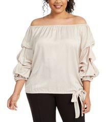 msk plus size puff-sleeve blouse