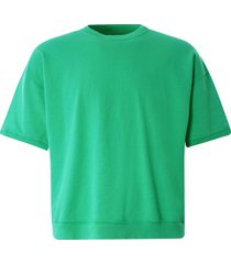 monitaly cropped short sleeve sweatshirt | green | m29703-grn