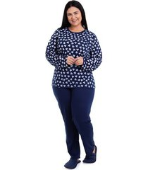pijama longo plus size corações feminino adulto luna cuore