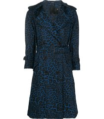 r13 leopard print belted coat - blue