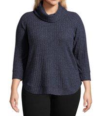 john paul richard plus size cowlneck rib-knit top