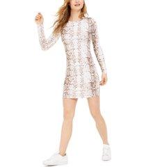 bar iii bodycon snake-print mini dress, created for macy's