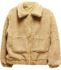 chaqueta corderito con cierre beige jacinta tienda