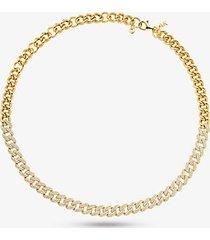 mk collana in argento sterling placcato oro 14k con maglie a catena e pavé - oro (oro) - michael kors
