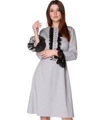 sukienka z żabotem szara