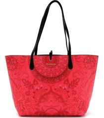 bolsa sacola desigual dupla face com necessaire preta/vermelha