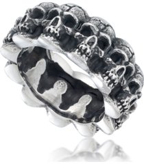 andrew charles by andy hilfiger men's multi skull ring in oxidized stainless steel