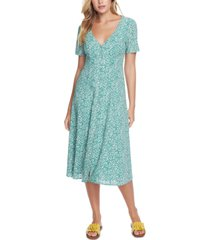 1.state folk silhouette floral-print midi dress