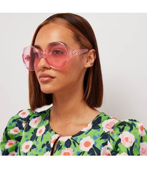 gucci women's oversized round frame sunglasses - pink