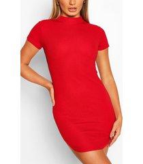 bodycon mini jurk met korte mouwen, rood