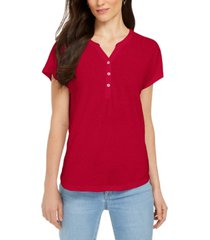 style & co dolman-sleeve henley linen-blend top, created for macy's